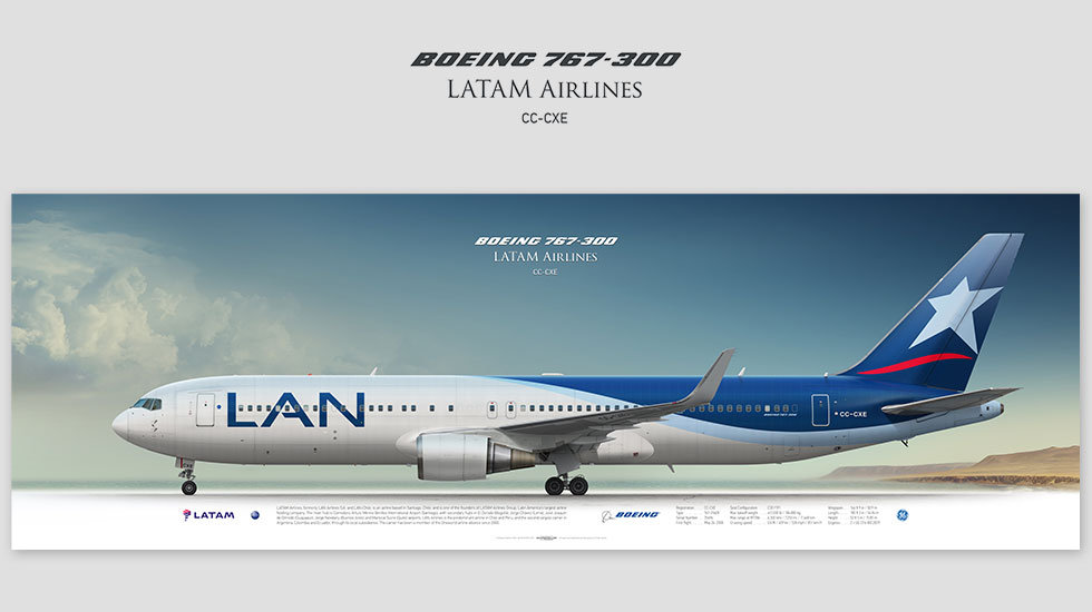 Boeing 767-300 LATAM Airlines, gift for pilots, aviation prints, pilot wall decor, avia poster, aircraft profile prints, LAN
