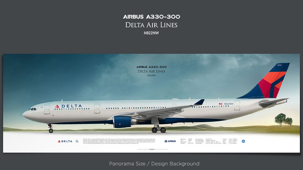 Airbus A330-300 Delta Air Lines, plane prints, retired pilot gift, aviation posters for sale, airbus 330 poster, DAL