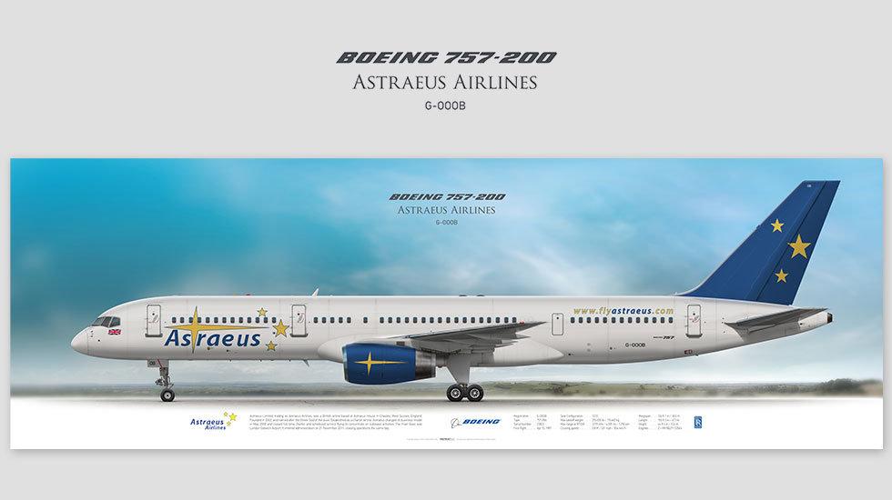 Boeing 757-200 Astraeus, posterjetavia, profile prints, gift for pilots, aviation, aviationhistory, b757