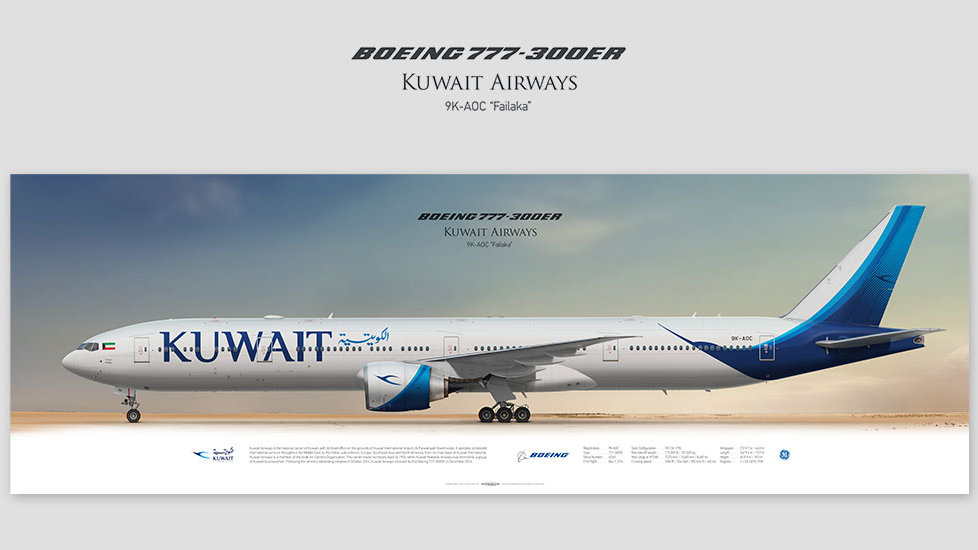 Boeing 777-300ER Kuwait Airways, gift for pilots, aviation art prints, aircraft poster, custom posters, plane picture