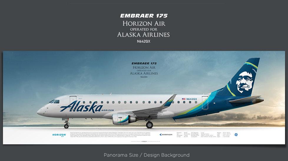 Embraer 175 Horizon Air, plane prints, retired pilot gift, aviation posters for sale, Alaska Airlines, regional jet, QXE