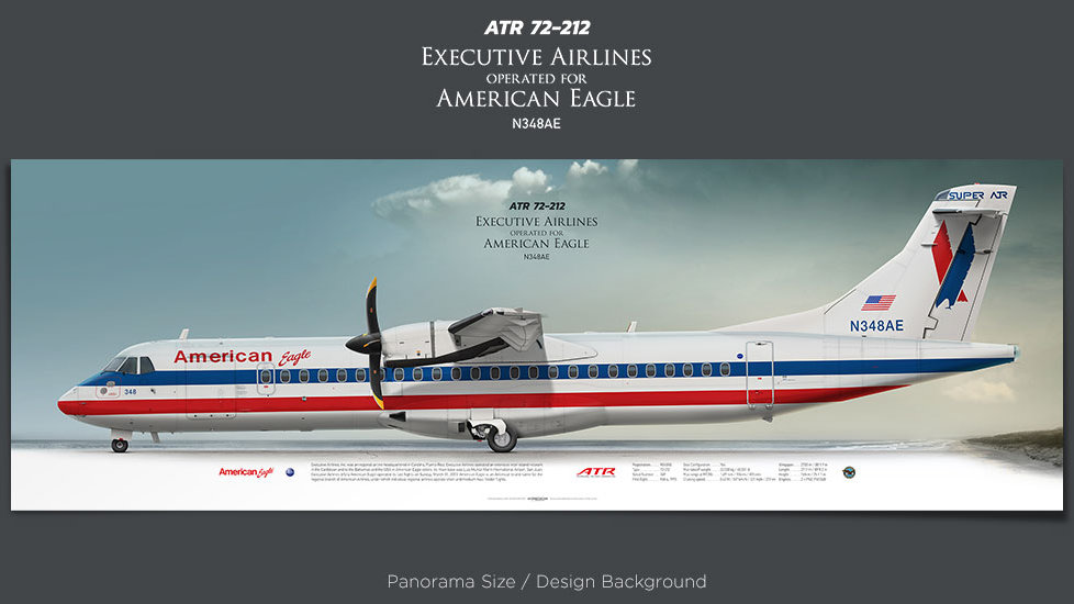 ATR 72-212 Executive Airlines, American Eagle, plane prints, retired pilot gift, aviation poster, airliners prints, turboprop