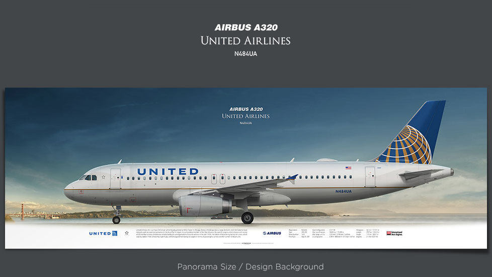 Airbus A320 United Airlines, plane prints, retired pilot gift, aviation posters, airliners prints, civil aircraft, UAL