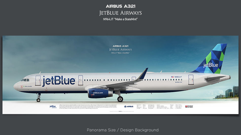 Airbus A321 JetBlue Airways, JBU, plane prints, retired pilot gift, aviation posters, airliners prints, plane image
