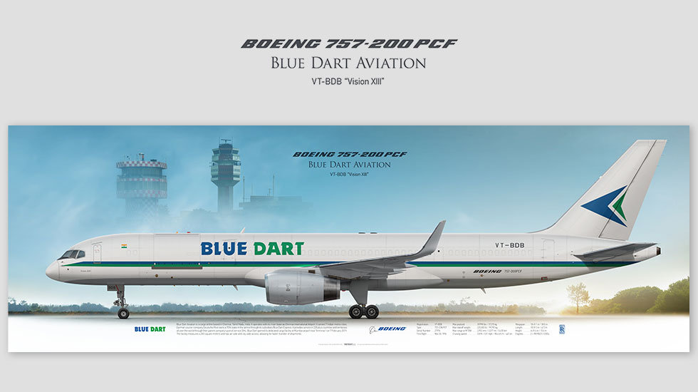 Boeing 757-200 Blue Dart Aviation, posterjetavia, gifts for pilots, aviation, aviation art , avgeek, airplane pictures, cargo