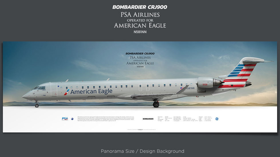 Bombardier CRJ900 PSA Airlines, plane prints, retired pilot gift, aviation posters, airliners prints, regional jet, jetliner