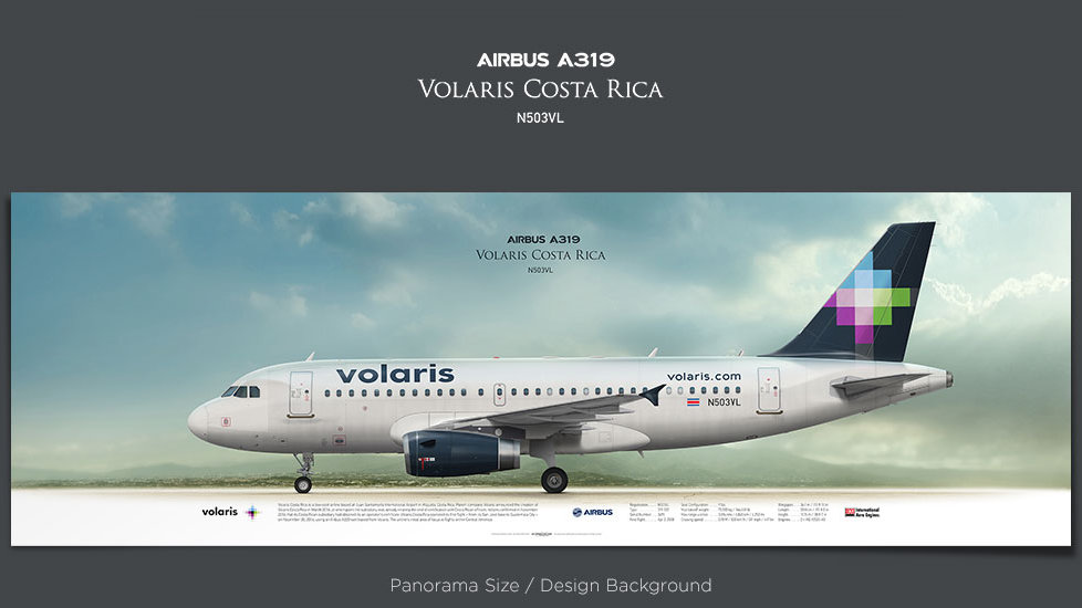 Airbus A319 Volaris Costa Rica, plane prints, retired pilot gift, aviation posters, airliners prints, plane image, VOC