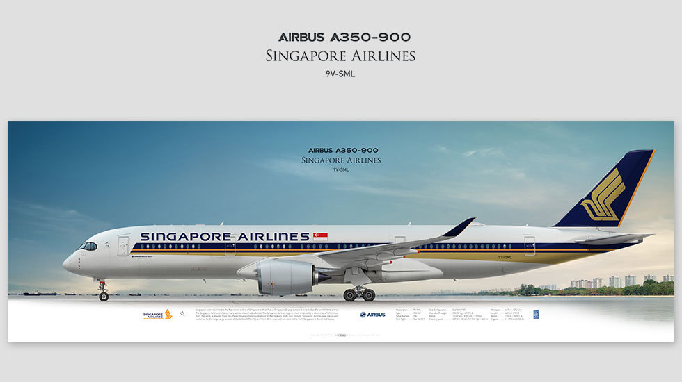 Airbus A350-900 Singapore Airlines, gifts for pilots, aviation art prints, aircraft prints, custom posters, pilots prints