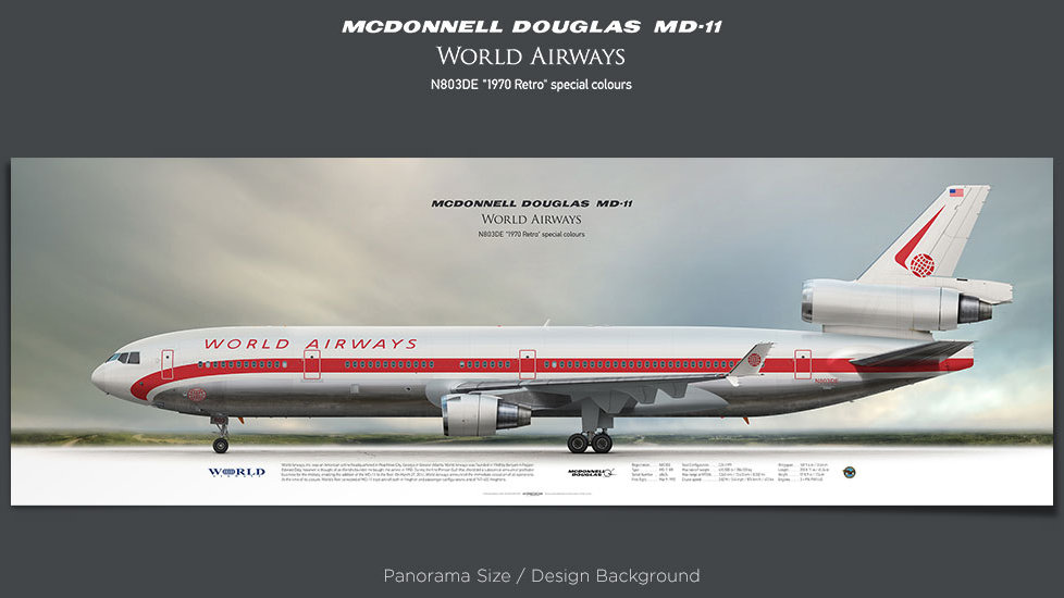 McDonnell Douglas MD-11 World Airways, WOA, plane prints, retired pilot gift, aviation posters, airliners prints, trijet