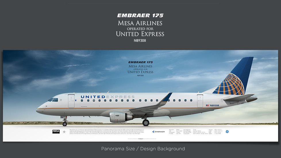 Embraer 175 Mesa Airlines opf United Express, plane prints, airplane poster, retired pilot gift, airline prints