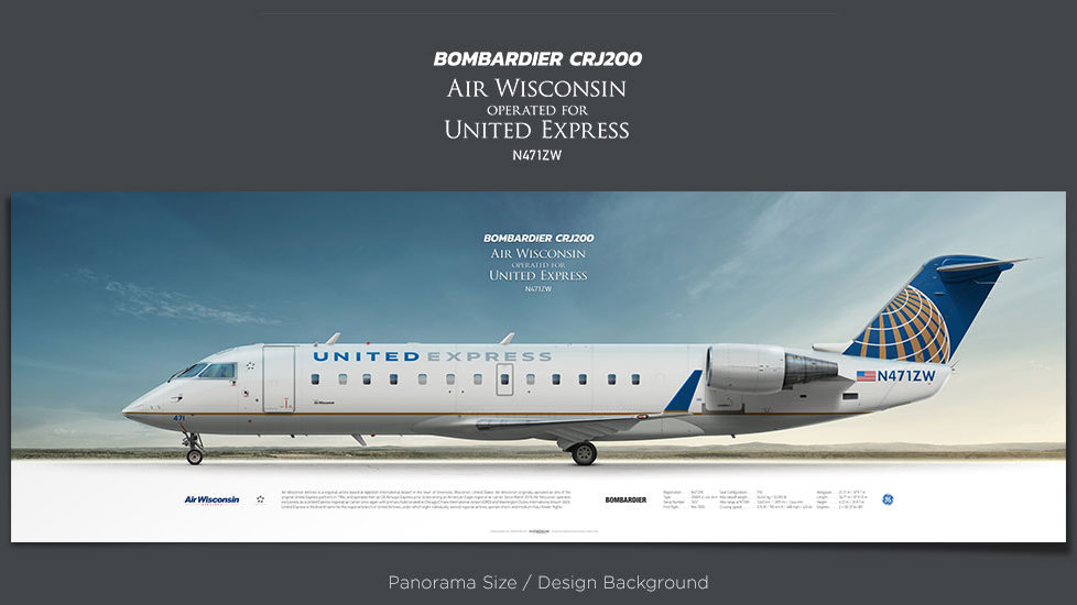 Bombardier CRJ-200 Air Wisconsin, United Express, plane prints, retired pilot gift, aviation posters, airliners prints, AWI