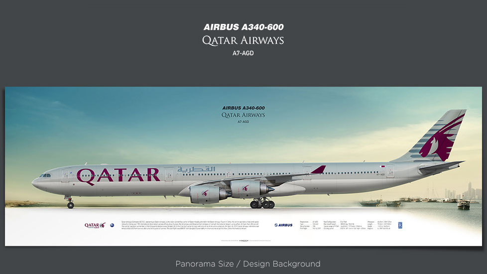 Airbus A340-600 Qatar Airways, plane prints, retired pilot gift, aviation posters, airliners prints, plane image, QTR