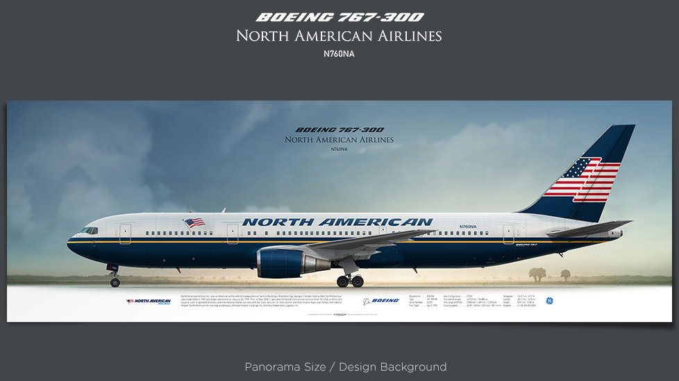 Boeing 767-300 North American Airlines, plane prints, retired pilot gift, aviation posters, airliners prints, plane print