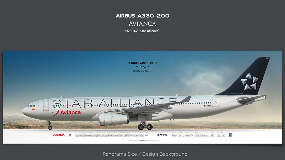 Airbus A330-200 Avianca, plane prints, retired pilot gift, aviation posters, airliners prints, star alliance print, AVA