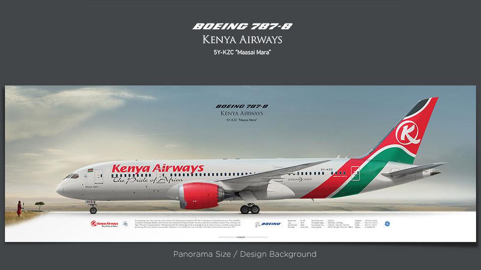 Boeing 787-8 Kenya Airways, gifts for pilots, aviation poster, airplane prints, custom posters, retired pilot