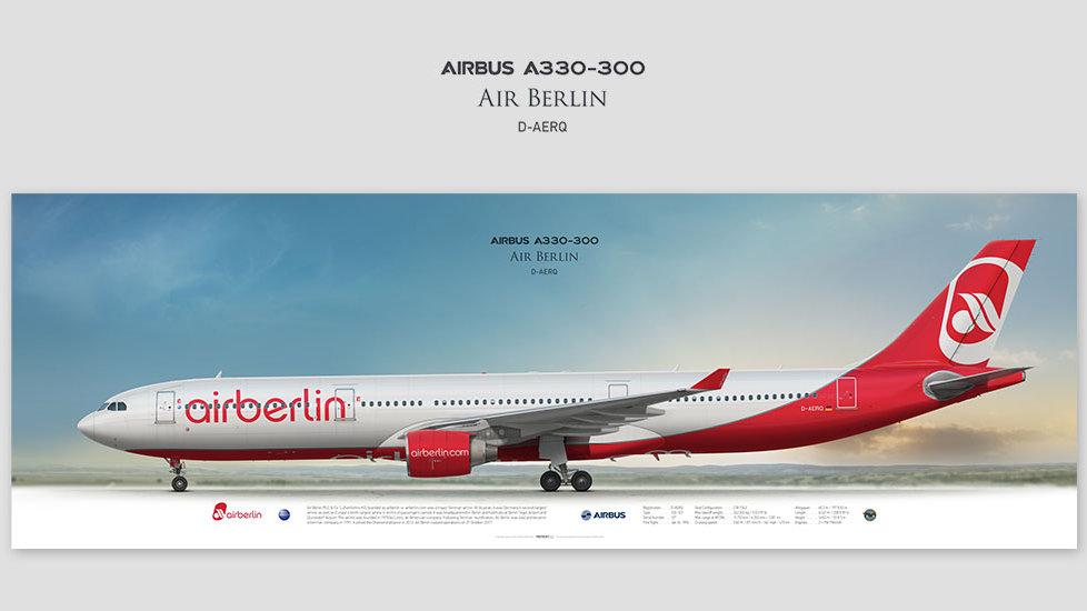 Airbus A330-300 Air Berlin, posterjetavia, gifts for pilots, aviation, airliner, pilotlife, aviationhistory, aviationart
