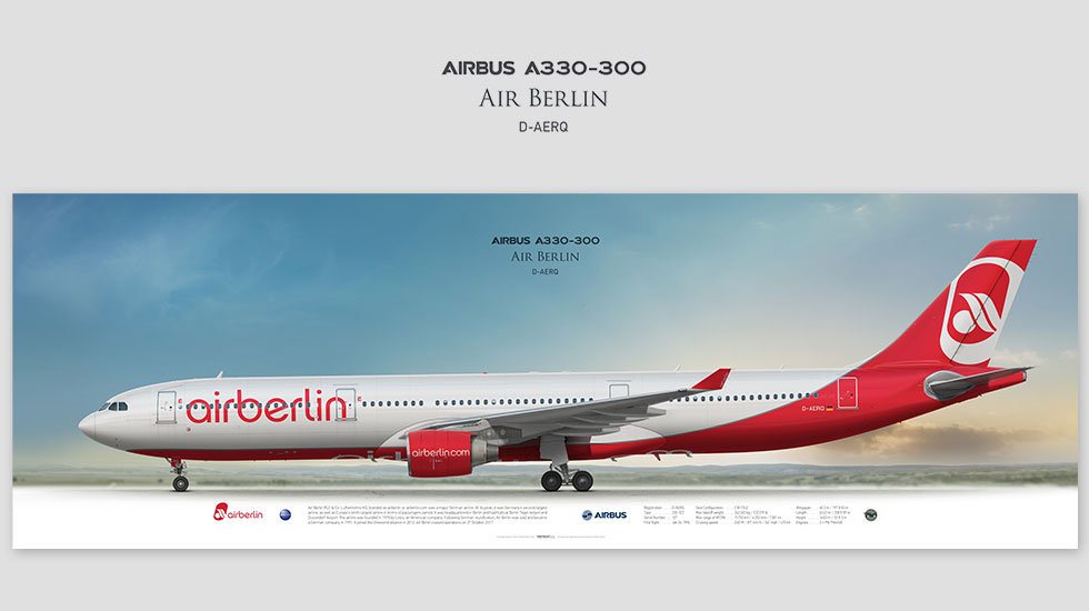 Airbus A330-300 Air Berlin, posterjetavia, gifts for pilots, aviation, airliner, pilotlife, aviationhistory, aviationart