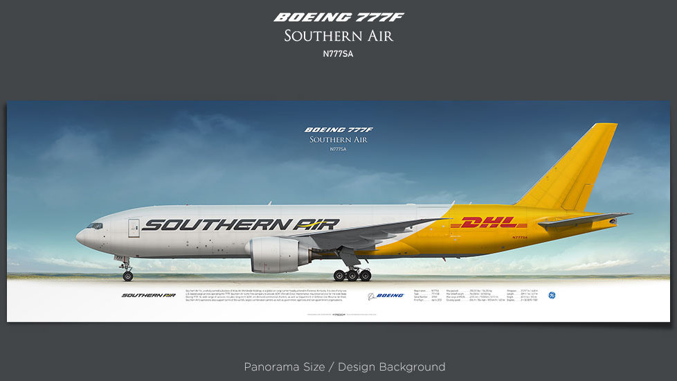 Boeing 777F Southern Air, SOO, plane prints, retired pilot gift, aviation posters, airliners prints, cargo plane, jetliner