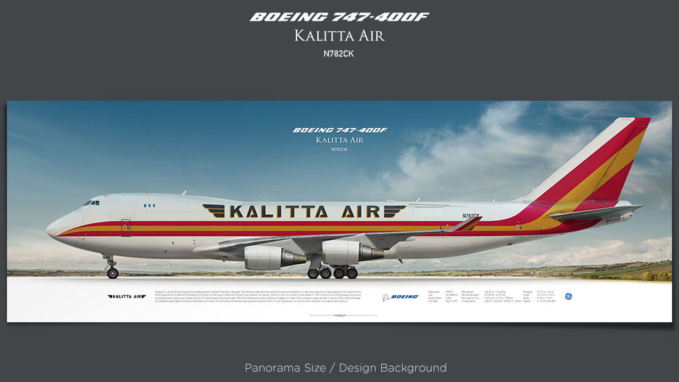 Boeing 747-400F Kalitta Air, plane prints, retired pilot gift, aviation posters, airliners prints, jumbo jet, cargo plane