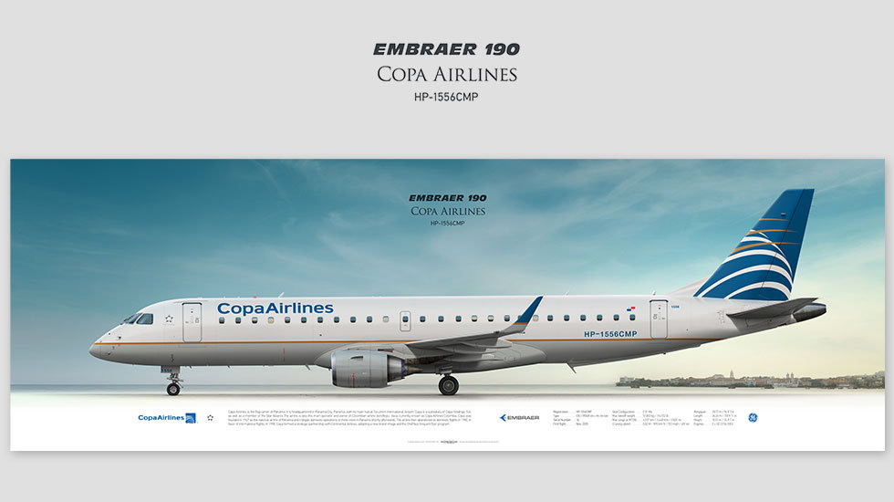 Embraer ERJ-190 Copa, gift for pilots, aviation art prints, aircraft print, custom posters, plane picture