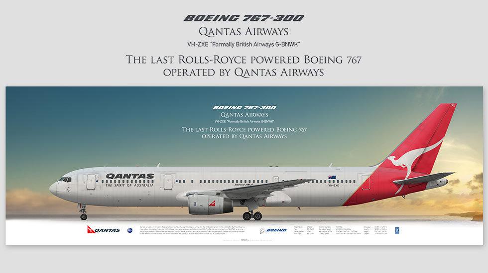 Boeing 767-300 Qantas Airways, posterjetavia, gifts for pilots, aviation, airliner, pilotlife, aviationdaily, aviationart