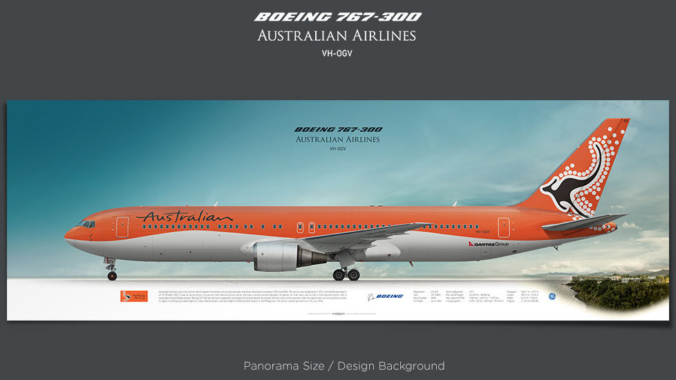 Boeing 767-300 Australian Airlines, plane prints, retired pilot gift, aviation posters, airliners prints, jetliner