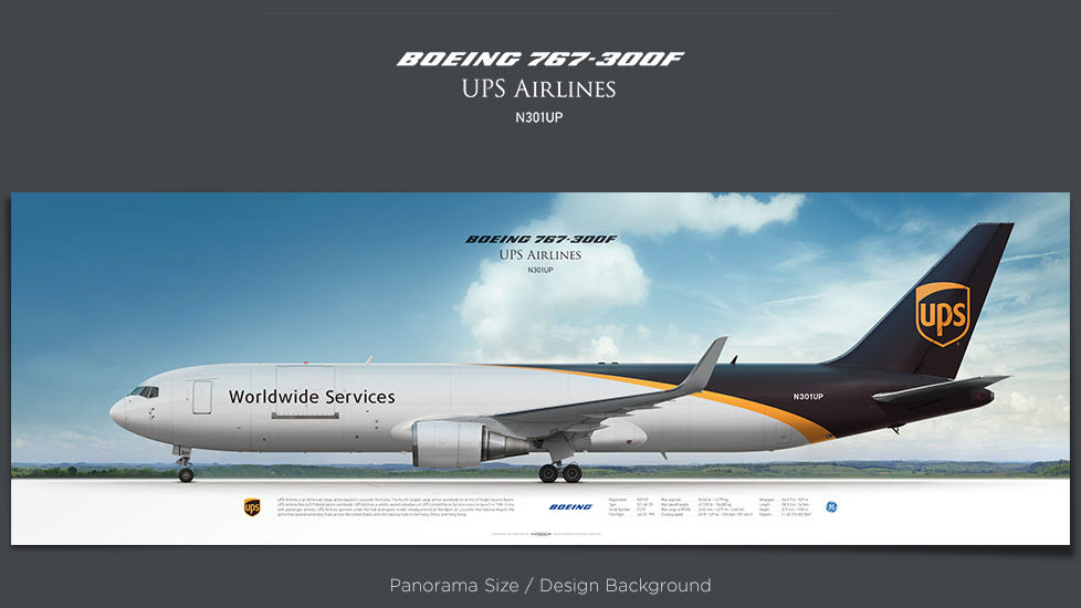 Boeing 767-300F UPS Airlines, plane prints, retired pilot gift, aviation posters for sale, cargo plane prints