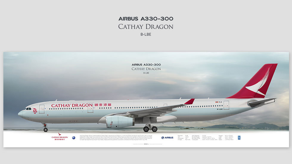 Airbus A330-300 Cathay Dragon, posterjetavia, profile prints, gift for pilots, aviation, airplane picture, airline
