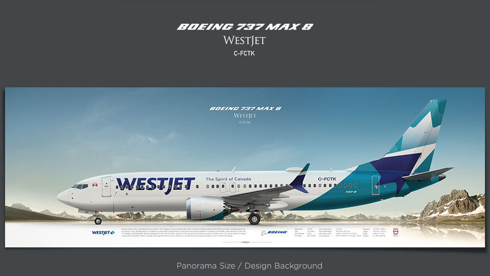 Boeing 737 MAX 8 WestJet, plane prints, retired pilot gift, aviation posters, airliners prints, civil aircraft print, WJA