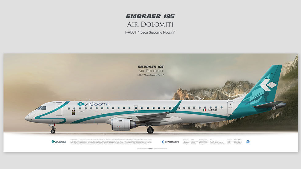 Embraer 195 Air Dolomiti, posterjetavia, profile prints, gift for pilots, aviation, airplane picture, airline