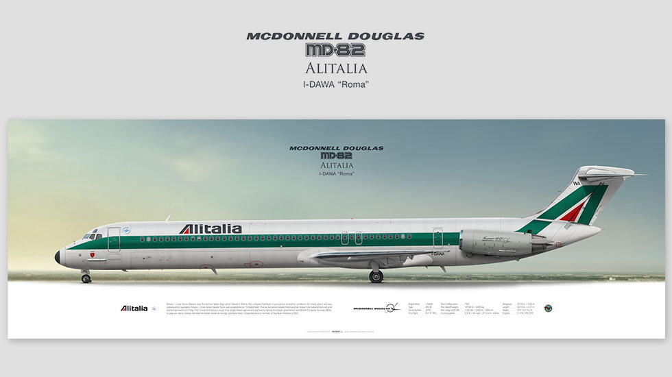 McDonnell Douglas MD-82 Alitalia, posterjetavia, profile prints, gift for pilots, aviation, airplane picture, airline