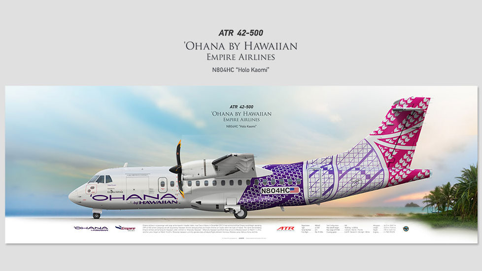 ATR 42-500 'Ohana opby Empire Airlines, posterjetavia, airliners profile prints, aviation collectibles prints