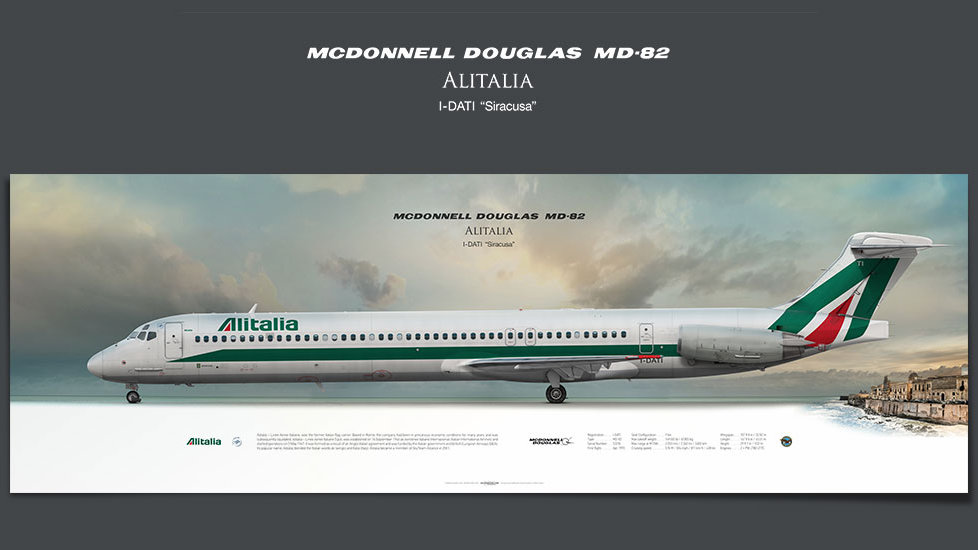 McDonnell Douglas MD-82 Alitalia, gifts for pilots, aviation prints, aircraft posters, custom posters, retired pilot