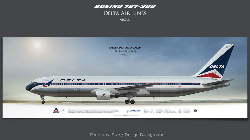 Boeing 767-300 Delta Air Lines, plane prints, retired pilot gift, aviation posters, airliners prints, civil aircraft