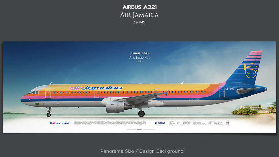 Airbus A321 Air Jamaica, plane prints, retired pilot gift, aviation posters, airliners prints, jetliner, plane image, AJM