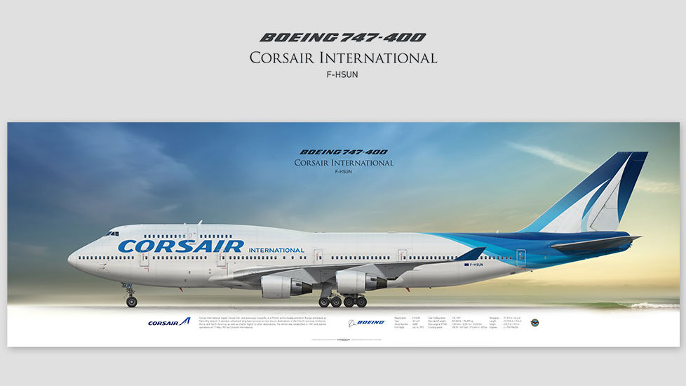 Boeing 747-400 Corsair International, gift for pilots, aviation art prints, aircraft poster, custom posters, plane picture