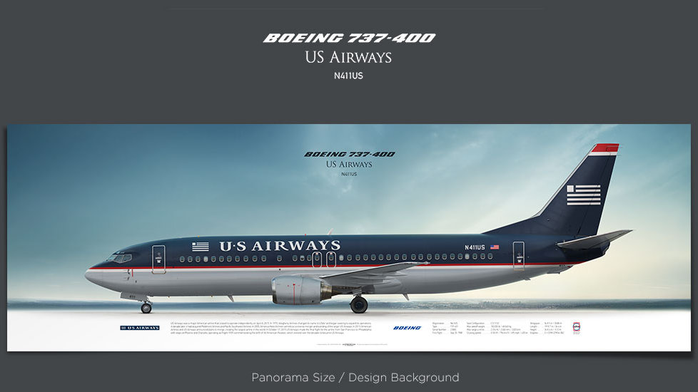 Boeing 737-400 US Airways, plane prints, retired pilot gift, aviation posters, airliners prints, vintage aircraft