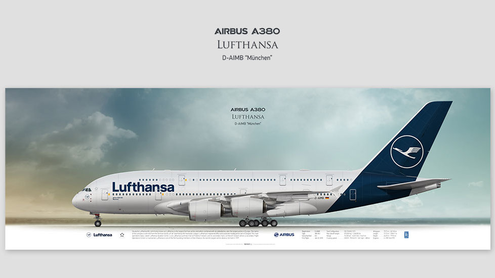 Airbus A380 Lufthansa, posterjetavia, profile prints, gift for pilots, aviation, airplane picture, airline