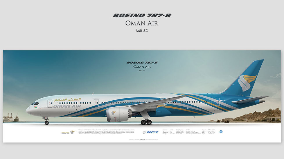 Boeing 787-9 Oman Air, , gifts for pilots, aviation art prints, aircraft print, custom posters, plane picture
