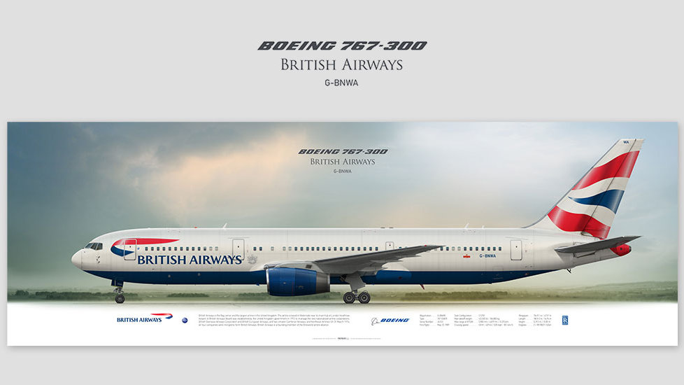 Boeing 767-300 British Airways, posterjetavia, profile prints, gift for pilots, aviation, airplane picture, airline