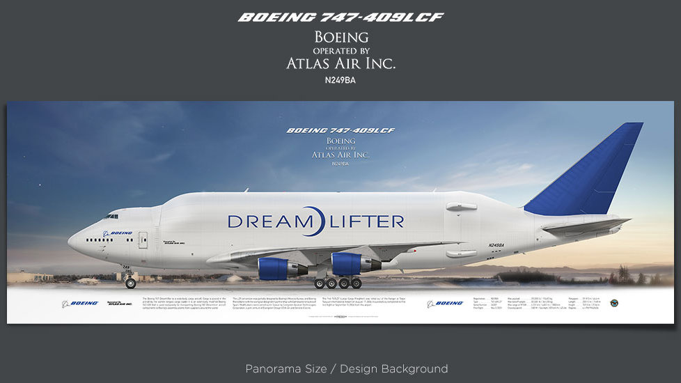 Boeing 747-400LCF, Atlas Air, plane prints, retired pilot gift, aviation posters, airliners prints, cargo plane, jumbo jet