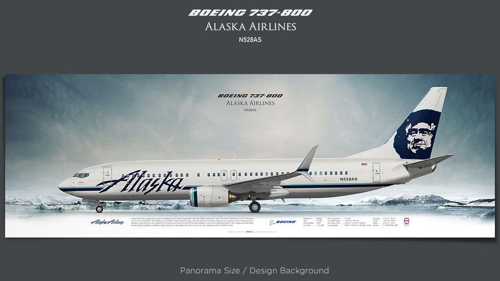 Boeing 737-800 Alaska Airlines, plane prints, retired pilot gift, aviation posters, airliners prints, plane print, jetliner