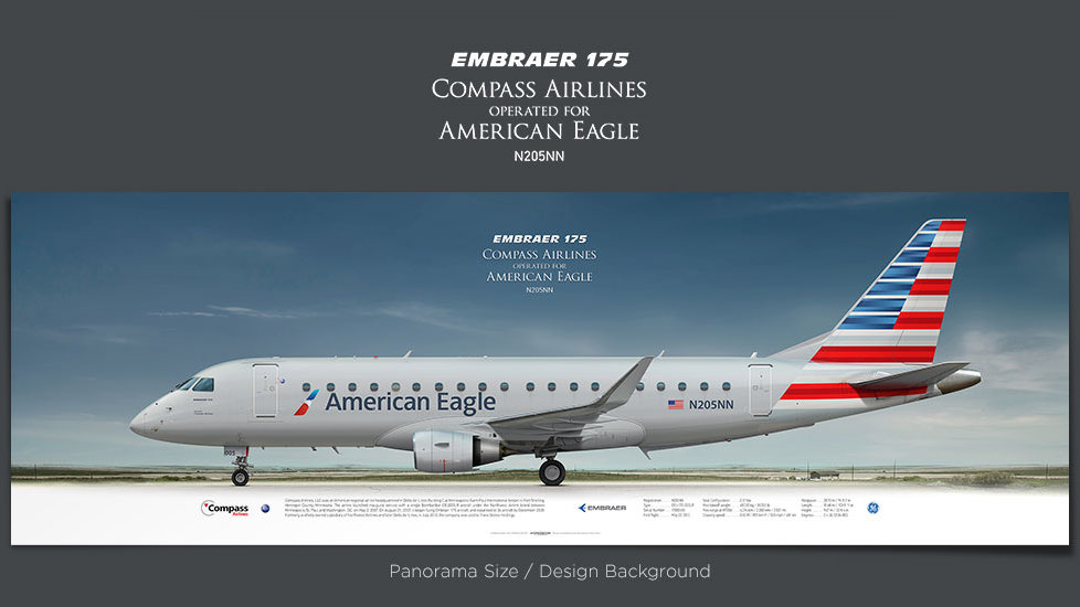 Embraer 175 Compass Airlines, gifts for pilots, aviation prints, aircraft posters, custom posters, retired pilot, Eagle, CPZ
