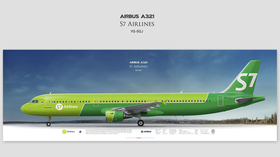Airbus A321 S7 Airlines, gift for pilots, aviation prints, avia poster, aircraft profile art prints, siberia airlines