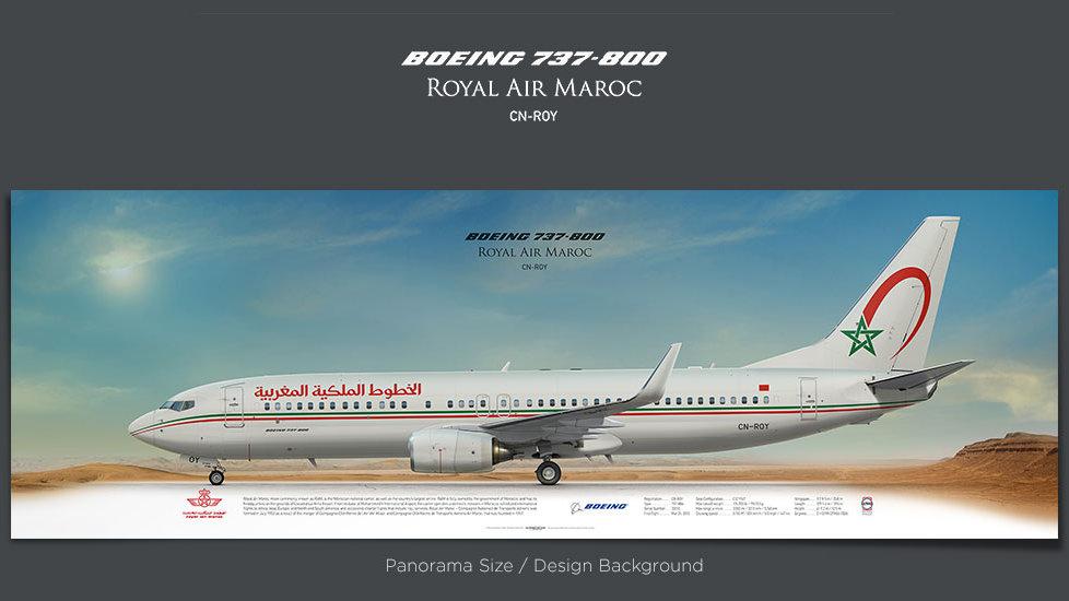 Boeing 737-800 Royal Air Maroc, gift for pilots, aviation art prints, aircraft print, custom posters, retired pilot