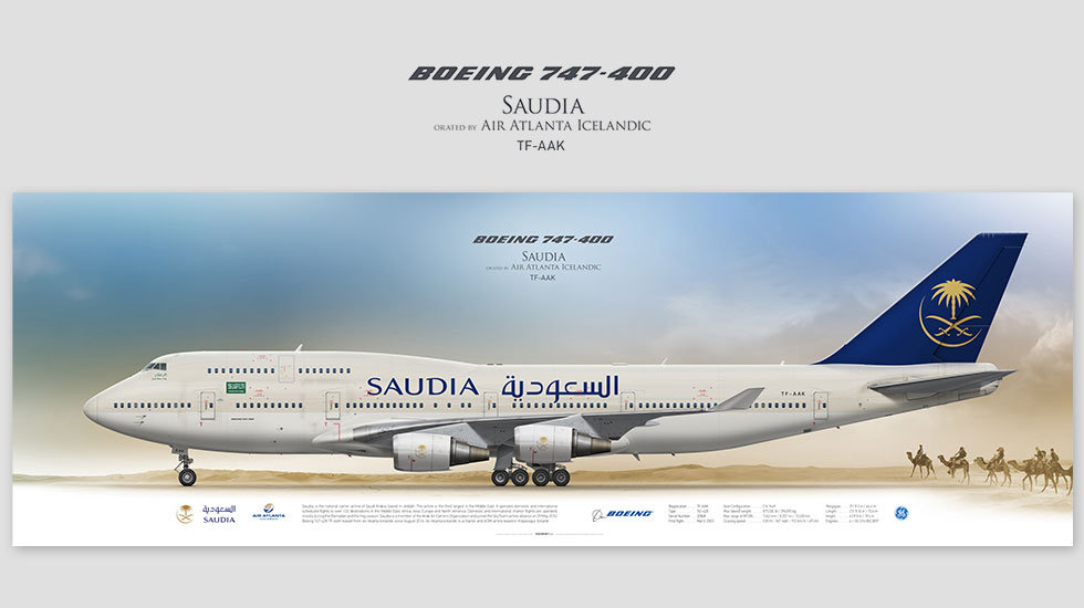 Boeing 747-400 Saudia, posterjetavia, airliners profile prints, aviation collectibles prints