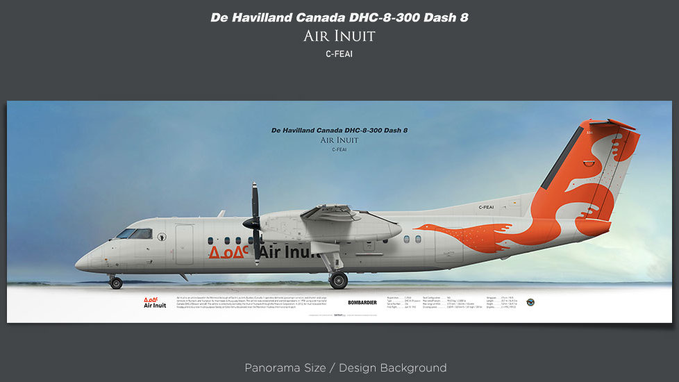 de Havilland Canada DHC-8-300 Air Inuit, plane prints, retired pilot gift, aviation posters, airliners prints, turboprop