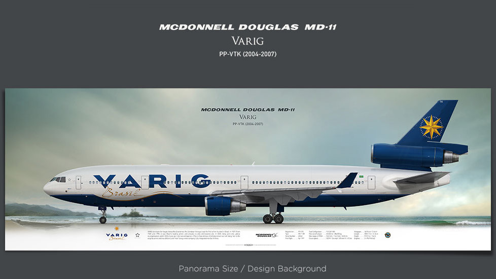 McDonnell Douglas MD-11 VARIG, plane prints, retired pilot gift, aviation posters, airliners prints, VRG, vintage aircraft