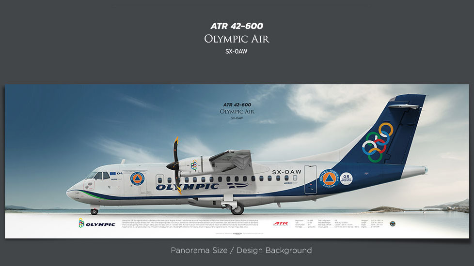 ATR 42-600 Olympic Air, plane prints, retired pilot gift, aviation posters for sale, turboprop prints, regional airline