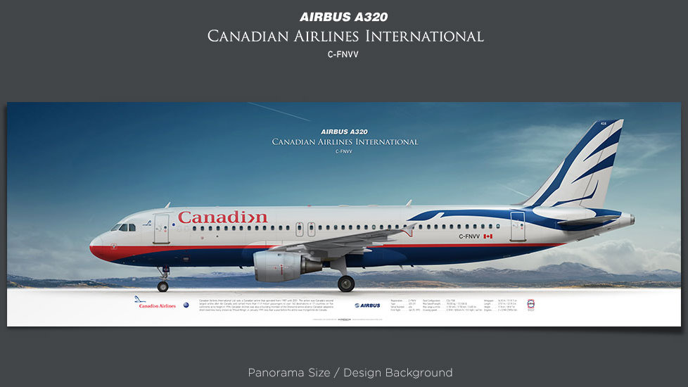 Airbus A320 Canadian Airlines, plane prints, retired pilot gift, aviation posters, airliners prints, airliner profiles